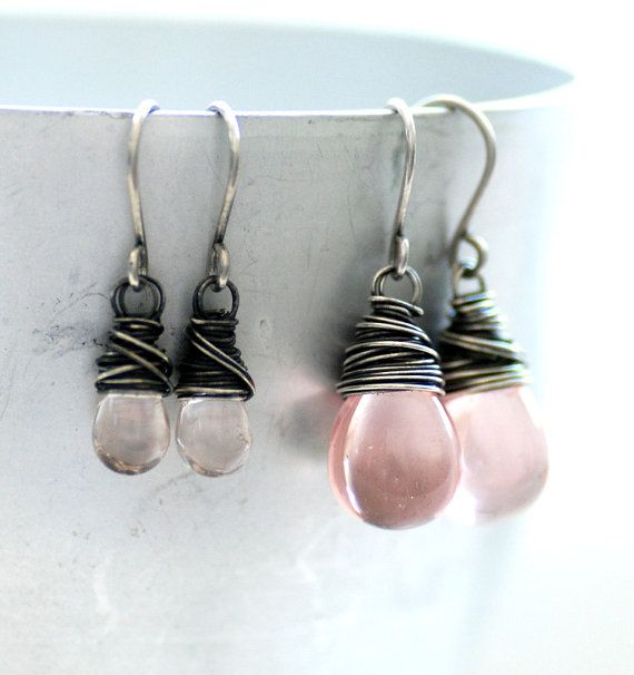 Mother Daughter Jewelry, Blush Pink Glass Earrings, Flower Girl Earrings, Pastel Pink Glass and Wrapped Oxidized Sterling Silver