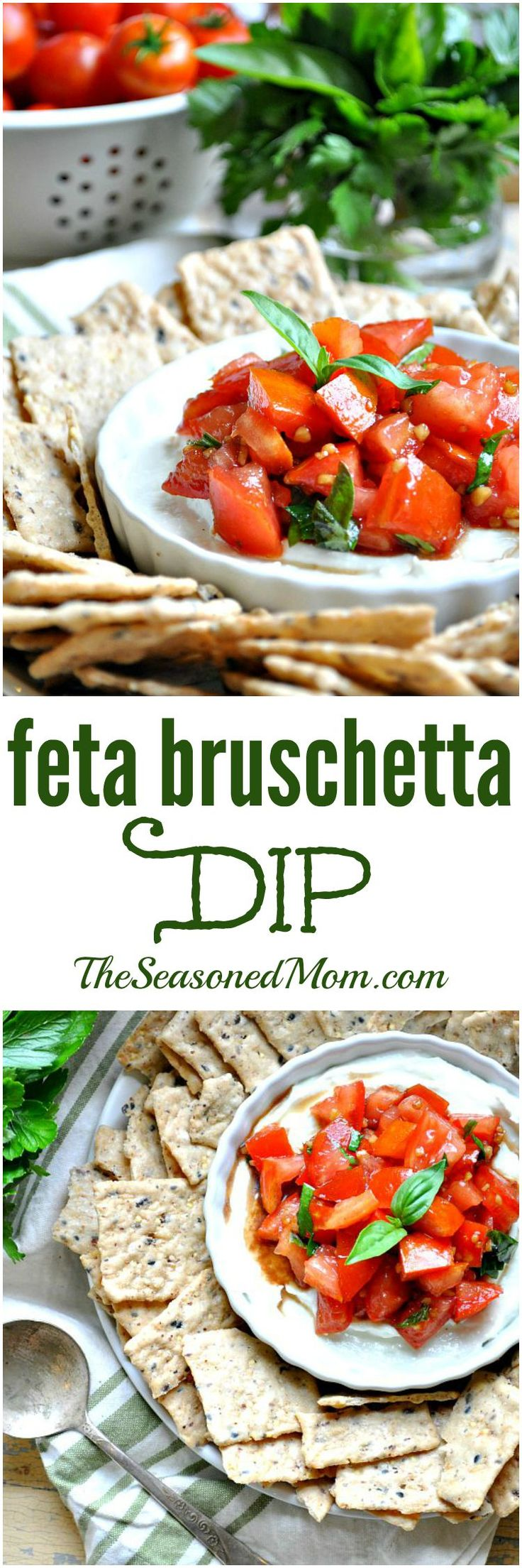 The perfect Mediterranean-style appetizer for all of your summer parties! A blend of fresh tomatoes and herbs sit on top of a creamy Feta cheese base in this Feta Bruschetta Dip! #ad