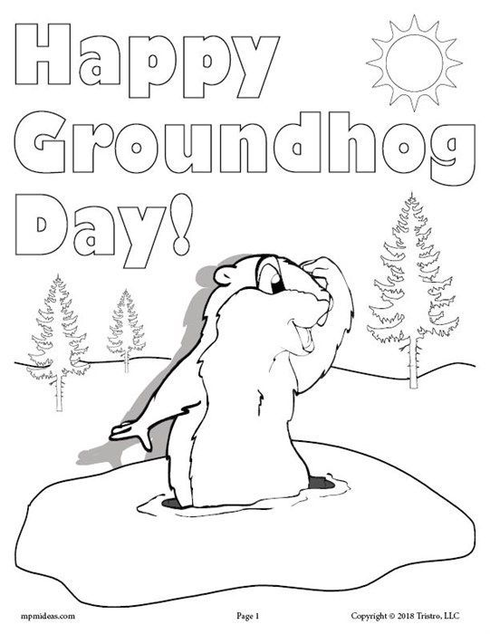 Free Printable Groundhog Day Coloring Page Groundhog Day