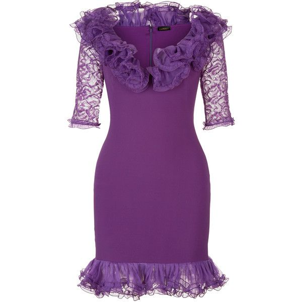 La Perla Cocktail Violet Short Silk Jersey and Leavers Lace Dress with... (€2.255) ❤ liked on Polyvore featuring dresses, purple evening dress, purple lace cocktail dress, lace-sleeve dress, purple cocktail dresses and purple lace dresses