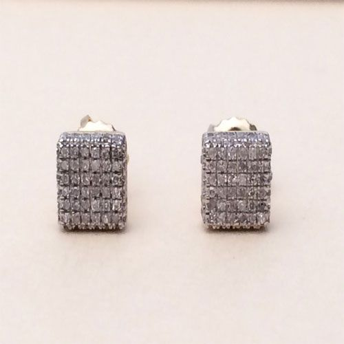 6fb760649 10K Yellow Gold Diamond Studs Concave Kite Pave Mens Ladies Earrings Small  by RG&D