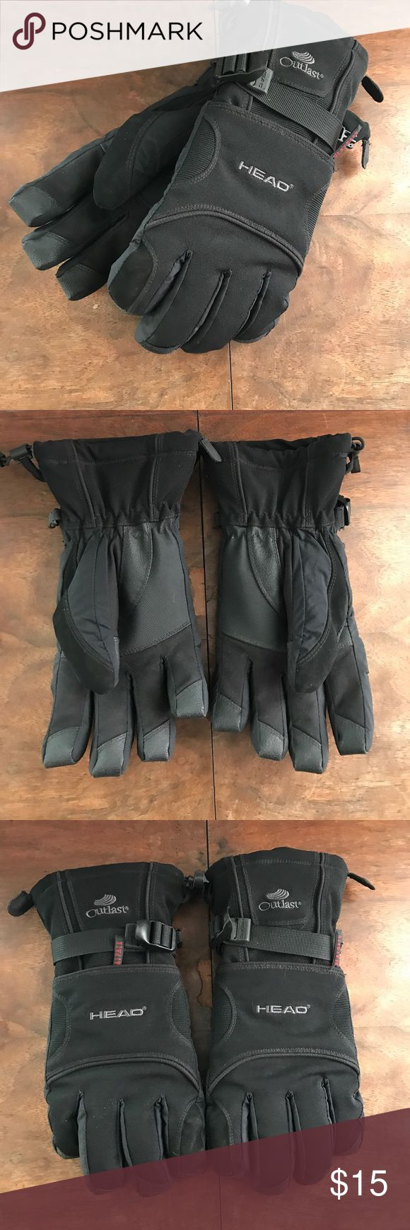 Black Heavy Duty Men's Waterproof Gloves Black Heavy Duty Men's Waterproof Gloves with reinforcement and fleece lining. Perfect condition. Zippered pockets with red mesh lining to insert a heat pack. Size medium. outlast Accessories Gloves