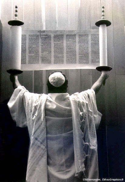 Black and White Photo of the Torah