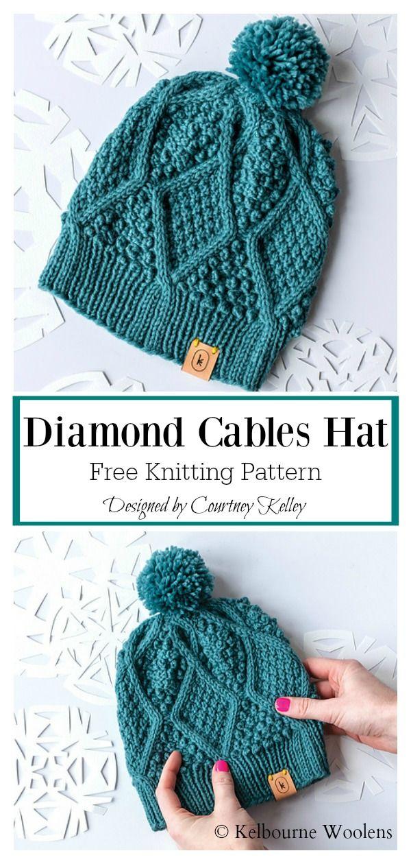 The Diamond Hat Free Knitting Pattern Knitting Patterns Free Hats Free Knitting Knitting