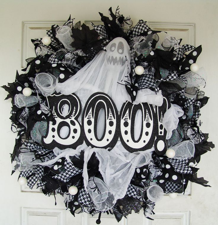 Ships FREE, Black and White Ghost Halloween Deco Mesh Front Door Wreath