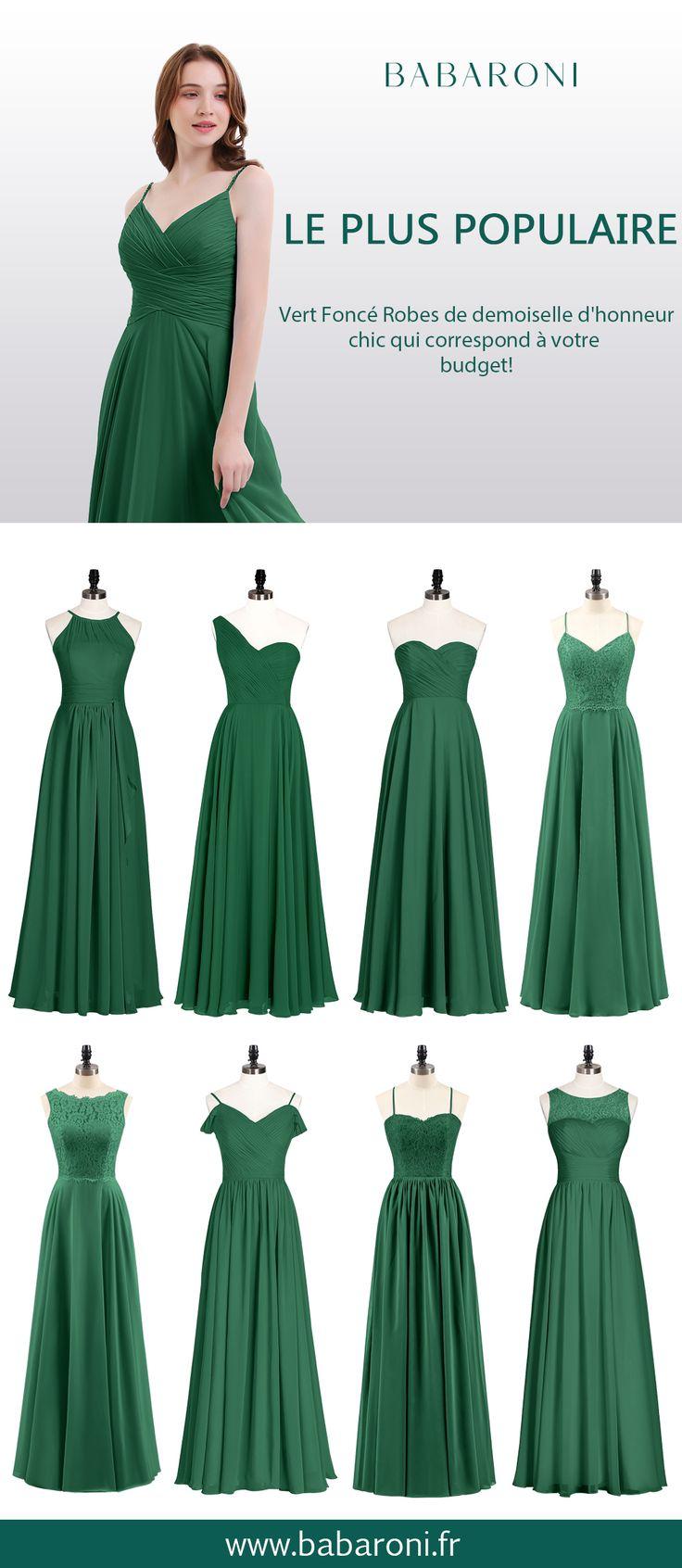 Robes de demoiselle d'honneur mousseline longue dentelle bustier vert foncé