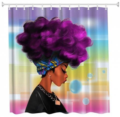 Purple Hair Girl Polyester Shower Curtain Bathroom High Definition 3d Printing Water Proof Black Shower Curtains