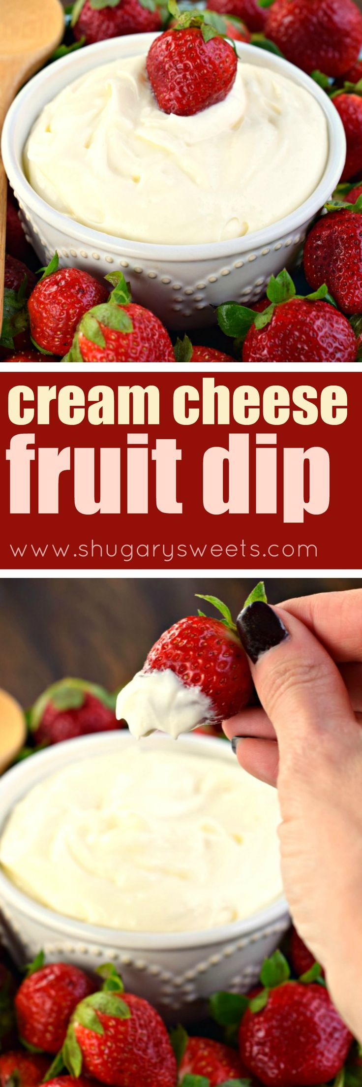 Three ingredient Cream Cheese Fruit Dip! A sweet treat to serve with berries and apples!