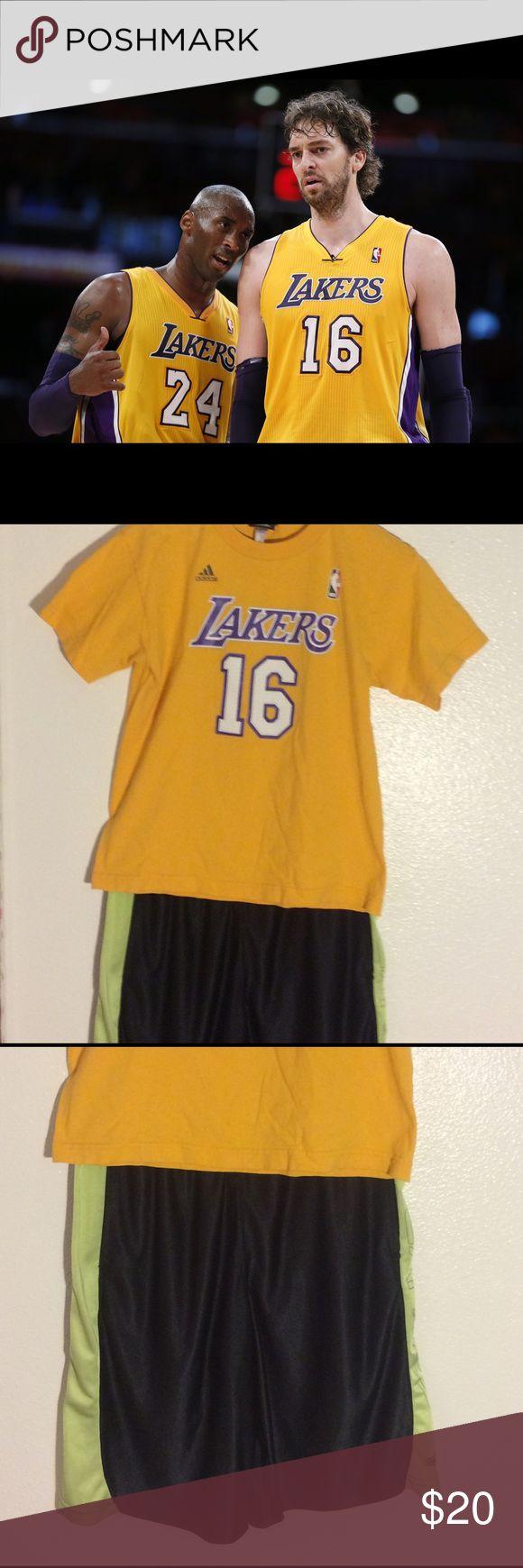 🏀LA Lakers Shirt and Shorts Combo🏀 🏀Adidas Lakers Youth Large Shirt with Net lettering. Lakers NBA Shorts Size Medium🏀 Adidas Matching Sets