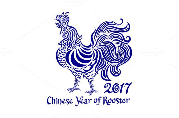 2017 chinese Year of rooster vector by Rommeo79 on @creativemarket
