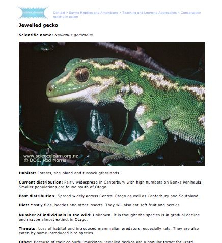Student Activity - Conservation ranking in action -  In this activity, students work in small groups to rank a number of native reptiles and amphibians according to their conservation threat status or risk of extinction.