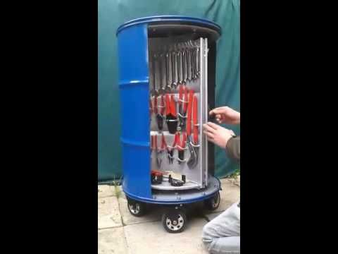The Ultimate Toolbox, A Compact and Organized Toolbox Built Into the Inside of an Oil Drum