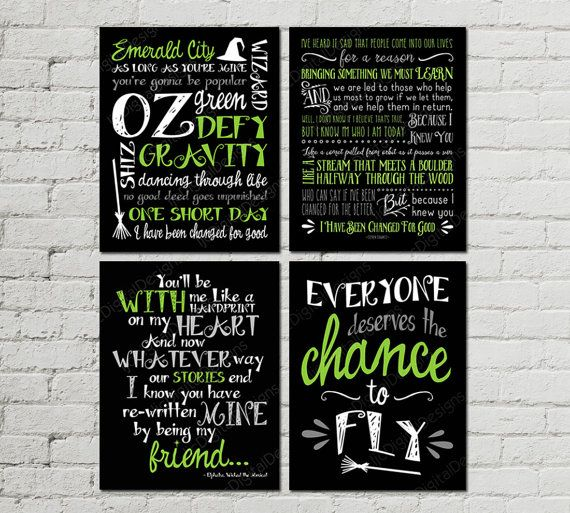 Printable Set of Wicked Musical Quotes Subway Art Word Art Typography Print, Wicked Fan Art,  11x14 INSTANT DOWNLOAD