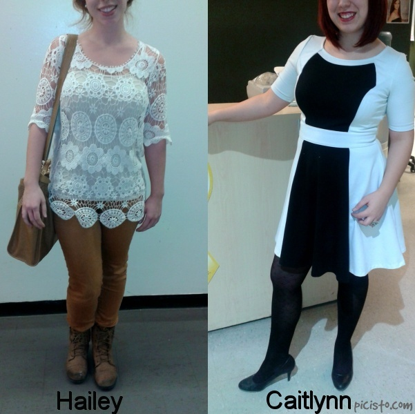 Surprise Feature! These girls looked too good to wait for Friday! Hailey and Caitlynn both wear fabulous two-toned outfits in different ways. Hailey is wearing a crochet white top over a white tank. She pairs this look with neutral skinny pants, combat  boots and a leather tote. This cute Bohemian look is perfect for a day of classes! Caitlynn is looking gorgeous in a very flattering contrasting white and black dress, black tights, and black pumps. Her modern look is great for a day of work.