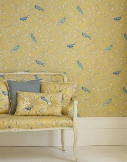 by Sanderson  'Finches' by Sanderson is a fanciful design of brightly painted birds juxtaposed onto a monotone pen and ink drawing of delicate entwined branches, this charming design is both fresh and youthful  click here if you wish to order samples ​ pattern repeat 24 in roll 20.5 in wide x 33 ft long coverage 56 sq. ft.
