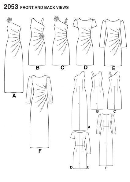 Выкройка Simplicity — Платье с драпировкой - S2053 | Платья – Сарафаны
