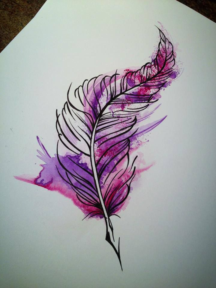 #tattoo #feather #watercolour #aquarel #purple #pink ...