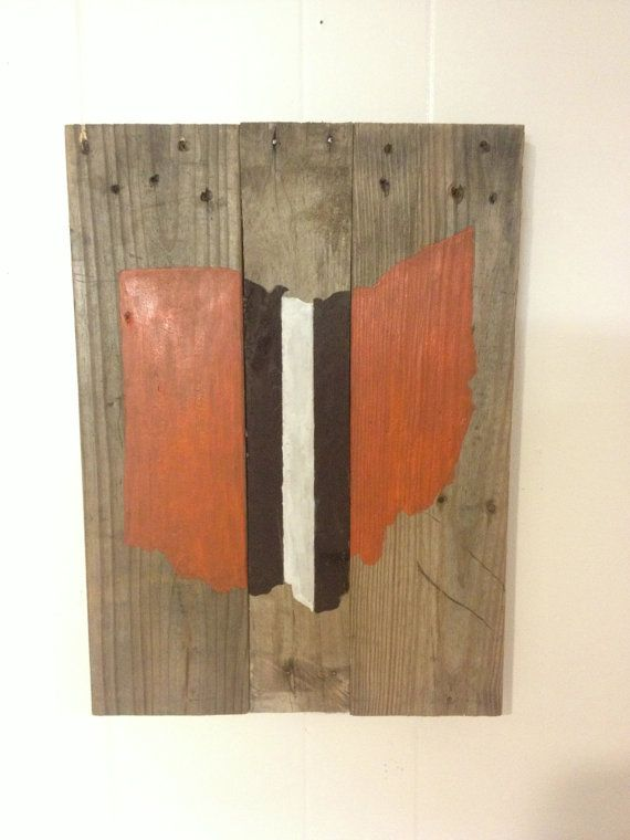 Rustic handcrafted Cleveland Browns Ohio wall by WoodisMyFriend, $35.00
