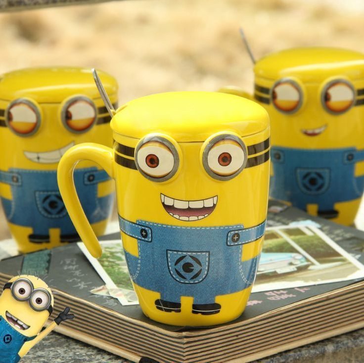 Creative Cartoon Minions Ceramic Cup Tea Milk Coffee Mug With Spoon & Lid