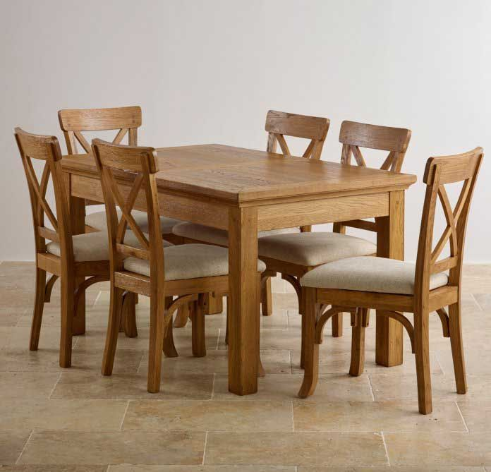 Good 50% OFF Taunton Rustic Brushed Solid Oak Dining Set With 4ft 7 Extending  Dining Table