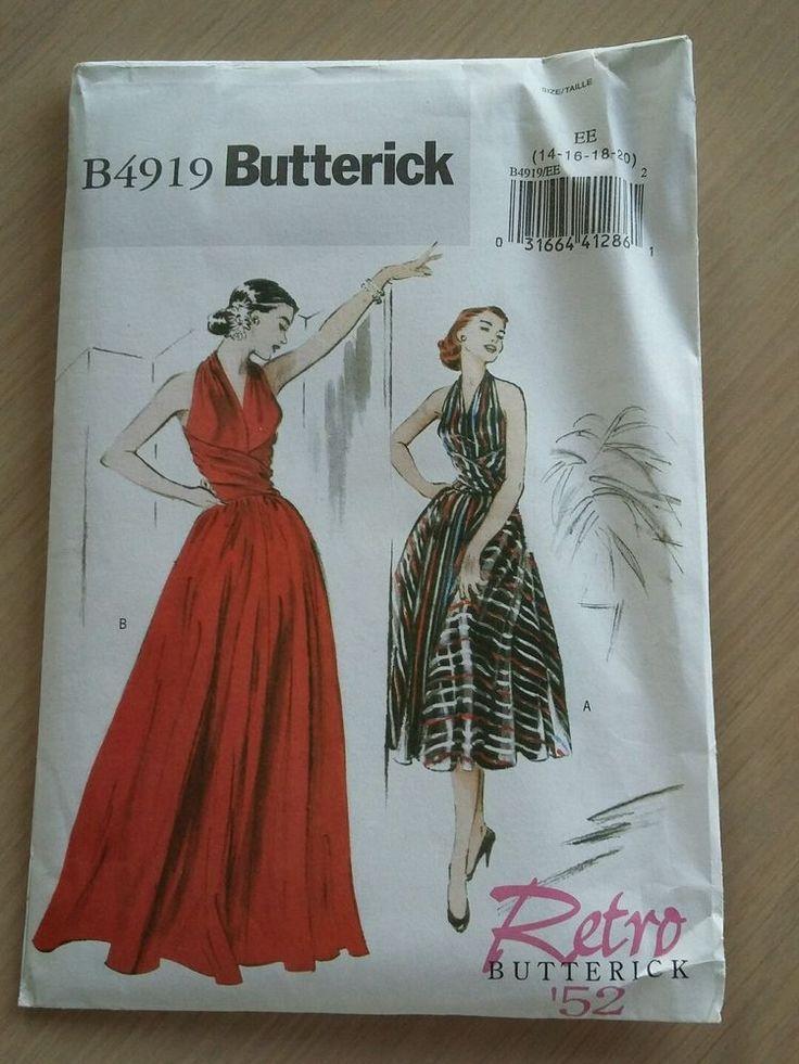 Butterick B4919 1950s Retro Vintage Formal Dress Pattern Size 14 - 20 New #Butterick
