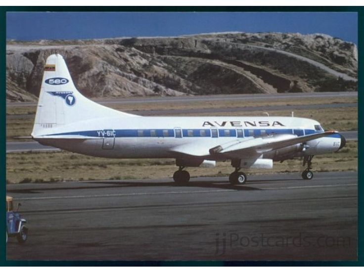 Convair 580 (YV-61C, s/n 485) of AVENSA (Aerovias Venezolanas S.A.) in August 1976. Converted from CV-440 Metropolitan.