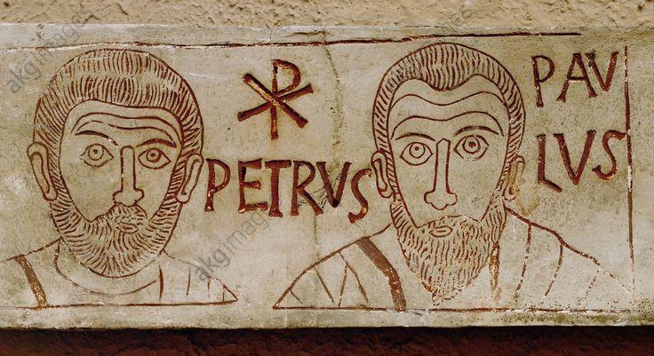 STS PIERRE ET PAUL / PALÉOCHRÉTIEN. Art paléochrétien, après 313.  Saint Pierre et saint Paul.  Provirnt de la tombe de l'enfant Asellus Museo Pio Cristiano,