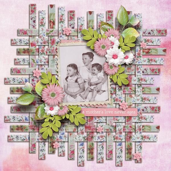 Love the weaving....patterned paper with calico print on scrapbook page...