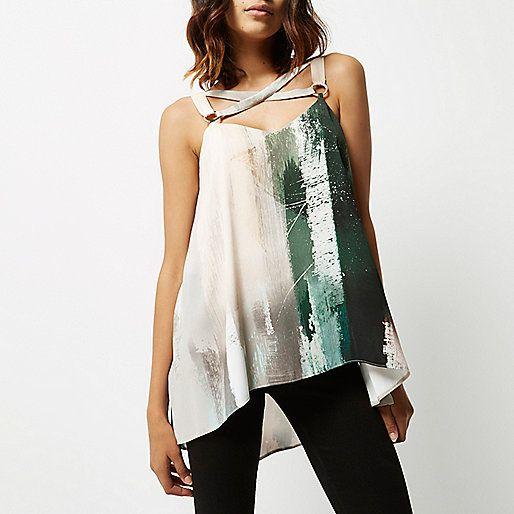 Cream print bondage cami top - cami / sleeveless tops - tops - women