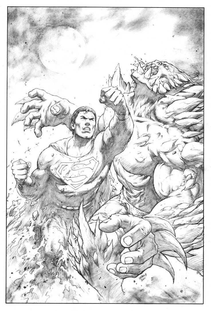 superman versus doomsday | Superman VS Doomsday pencils by FlowComa