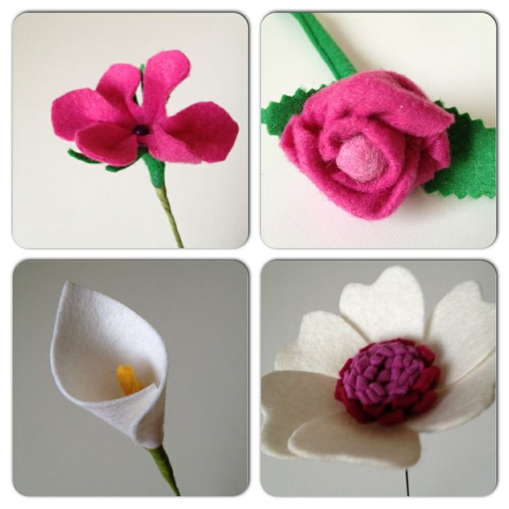 Nieuwe vilten bloemen; Felt flowers For your bouquet!