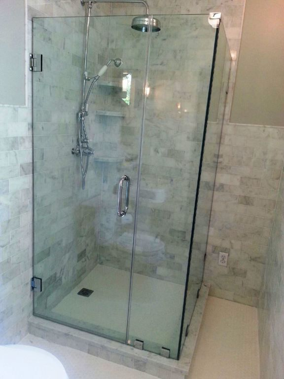 Bathroom, Remarkable Bathroom Design Presented With Tall Silver Shower And  Cube Shaped Glass Shower Enclosures ~ Transparent Glass Shower Enclosures  For ... Photo Gallery