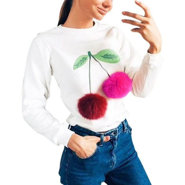 COCKCON Women Colorful Plush Ball Long Sleeve Sweatshirt Casual Tracksuit Ladies Truien Dames Female Hoodies Tops Kawaii Outwear