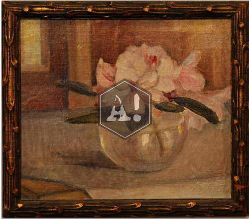 Helene Schjerfbeck 1862-1946  Rhododendron in a glass vase (with The Convalescent background)  Oil on canvas, 31 X 35,5  Sign. at bottom right