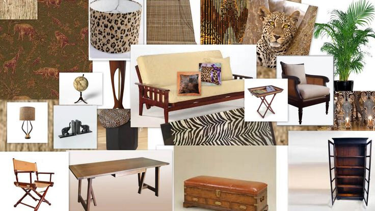 safari living room inspiration collage