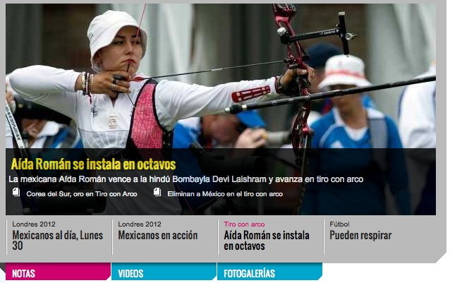 108c: The image shows a single female archer pulling back her bow.  Other people in the image are out of focus but are still defined; this makes the viewer focus on the athlete.