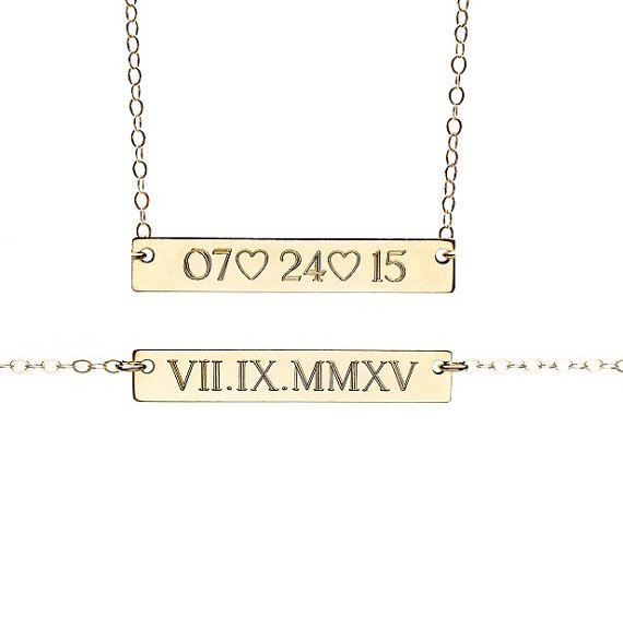 Front only, 18 inch silver with wedding date not Roman numerals :) https://www.etsy.com/listing/171137439/roman-numeral-necklace-date-necklace