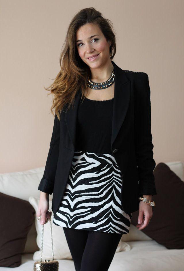 looks con falda blanca y negra estampada - Buscar con Google