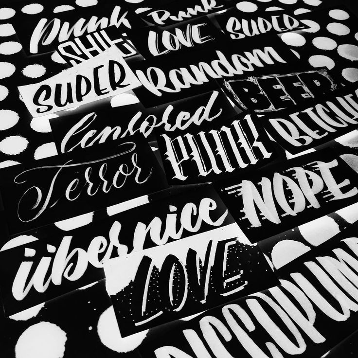 Handlettering composition with polkadot background . Black and white. Handmade by yazoka