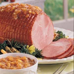 Ham with Sweet Pineapple Sauce Recipe -My mom always finds ways to make good foods taste even more special. A great example is this ham served with a sweet pineapple sauce. A simple mixture of basic ingredients results in a mouthwatering main dish. -Debra Falkiner, St. Charles, Missouri