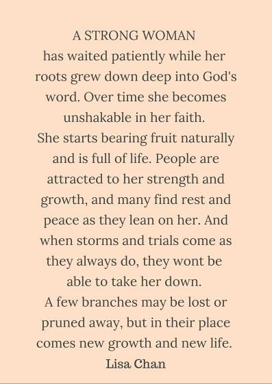 "Eph 3:17 ""...as you trust in Christ. Your roots will grow down deep into God's love and keep you strong""  Quote by Lisa Chan in her book cowritten with Francis Chan, You and Me Forever: Marriage in the Light of Eternity.  Ebook and audio book FREE in the Google play app store.  Heather"