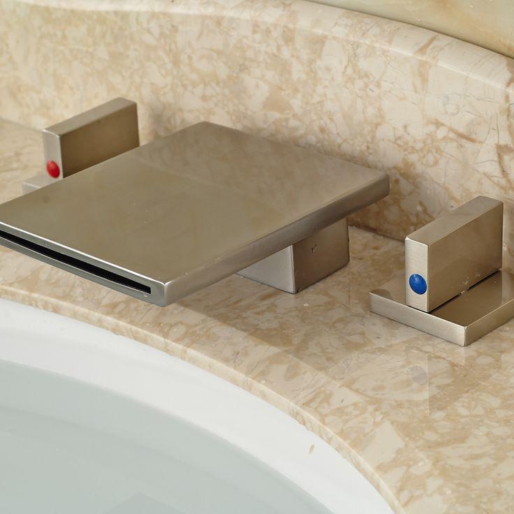 Палуба Крепление Водопад Две Ручки Смеситель для раковины Кран 3 Установить Отверстие Матовый Никель Отделка купить на AliExpress