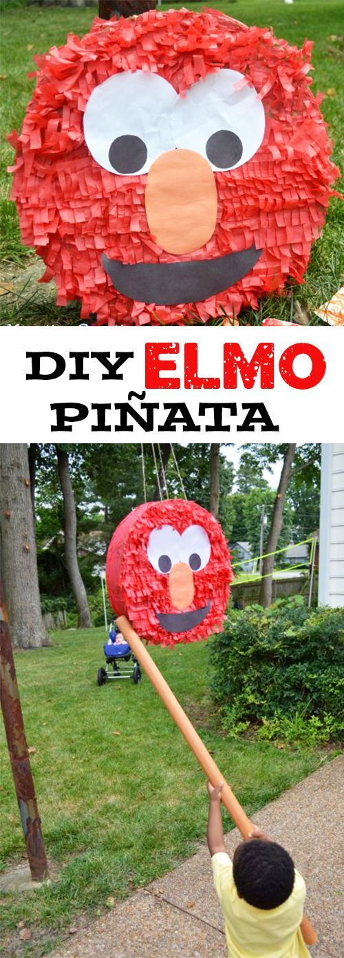 My son is into Elmo, so I decided to give him a diy Elmo piñata. Last year was my first attempt at making a piñata and I didn't do half bad. It was the perfect touch to his Elmo themed birthday party! It's great at any toddler party!