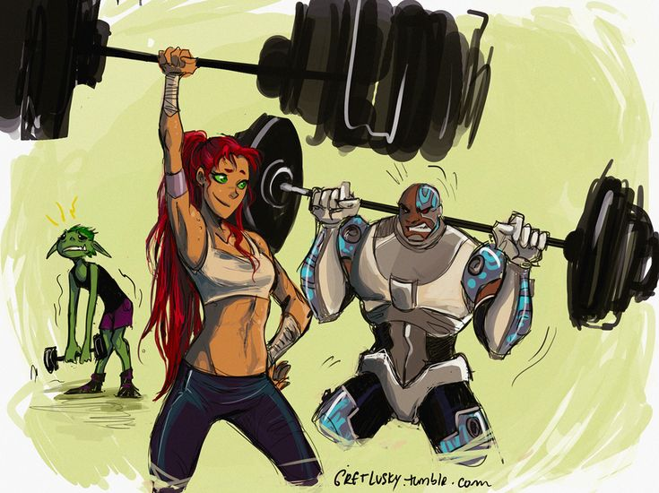 Gym buddies by gretlusky.... when I'm at the gym, I definitely relate to beast boy compared to other people there :)