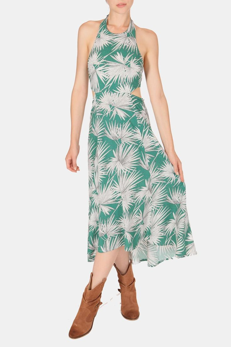 This darling linen midi dress with an adorable fern motif is the perfect outfit for every fun occasion! Featuring a double knot tie around the back and neck, side cutouts and a subtle high-low hem.   Fern Print Dress by luxxel. Clothing - Dresses - Midi Clothing - Dresses - Printed California