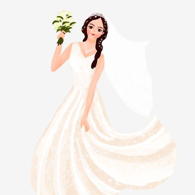 ومن ناحية رسم الكرتون اليد عقد باقة من الزفاف الأبيض جميل يمكن أن تكون العناصر التجارية العروس مرسومة باليد كرتون Png وملف Psd للتحميل مجانا Bride Clipart White Wedding Dresses Dress
