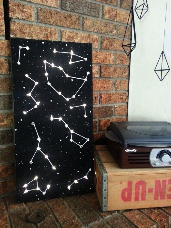 """12"""" х 24"""" Освещенное Созвездие Wall Art // Созвездие Холст живопись // Вселенная стена искусство // Вселенная // Night Light // Детский сад Декор"""