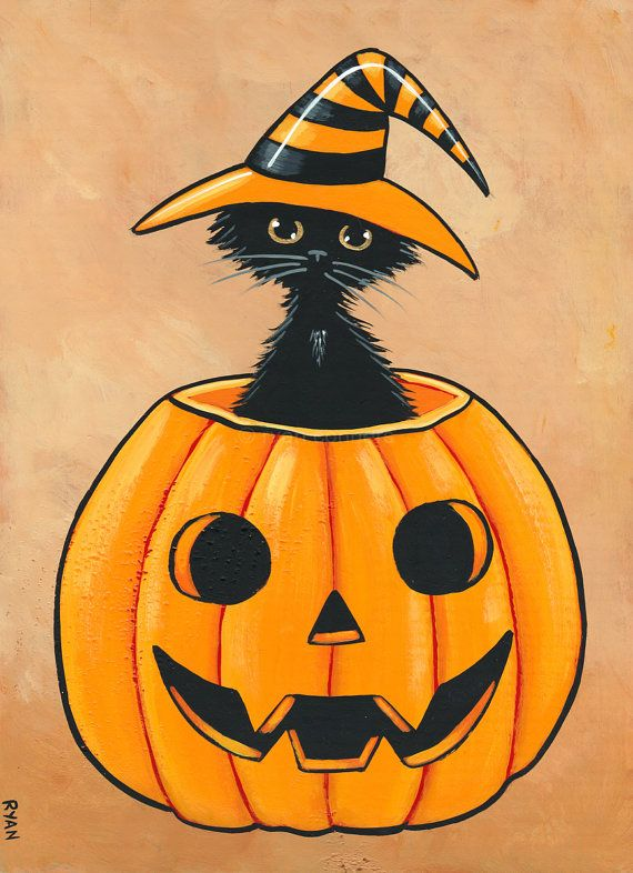 The Scruffy Witch Original Halloween Black Cat Folk Art Painting by KilkennycatArt