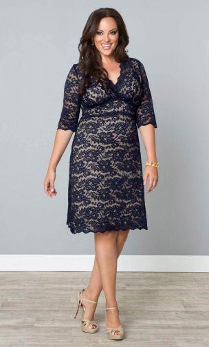 Plus Size Scalloped Boudoir Lace Dress