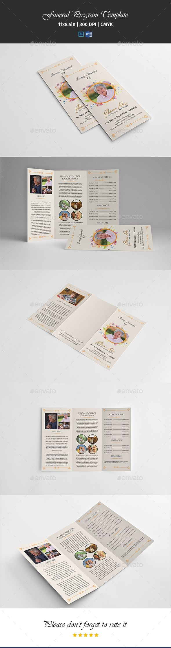 Best FuneralMemorial Programs Templates Images On